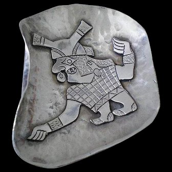 Rarely Seen A. GARCIA Mid-century Peruvian .925 Silver Pre-Columbian Tribal Icon HAMMERED BROOCH
