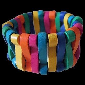 Ultra Vibrant 1980s MEMPHIS ERA Modernist Multicolored Chunky Carved Wood Bead Non-elastic BANGLE BRACELET ~ 38 Grams