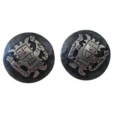 Rare CHAVEZ Casa Welsch Mid-century 1950s Peru Handwrought .925 Silver Iconic Inca Diety VIRACOCHA EARRINGS