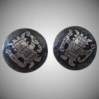 Rare CHAVEZ Mid-century 1950s Peru Handwrought Pre-Columbian .925 Silver Viracocha Diety Clip Earrings from CASA WELSCH