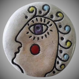 """Big Colorful POST-MODERN Artisan Signed & Dated Glazed Ceramic """"Clay Buttons"""" Circular Abstract  FACE BROOCH ~ 28 Grams"""