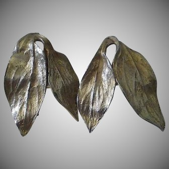 Classy Classic Mid-century 1950s FREDERICK MOSELL Designed Large Gold-plated Botanical CLIP EARRINGS