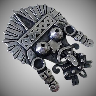 Spectacular Rare DORIS 1940s Mexico Handmade Museum Quality Sterling Silver Abstract Modernist AZTEC DEITY BROOCH ~ 29 Grams