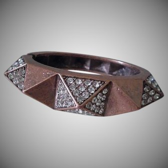 FABULOUS Chunky Funky 1970s Mid-century Coppertone Metal Pave Rhinestone SPIKY CLAMPER BRACELET ~ 86 Grams