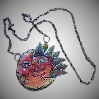 "ONE-OF-A-KIND Mexican Mid-century Handmade Surreal Modernist Polychrome Painted Tin ""Sun & Moon"" Kinetic FOLK ART Pendant Necklace ~ 33 Grams"