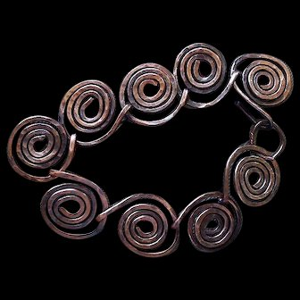 Iconic MID-CENTURY STUDIO Artisan Handcrafted Hammered Copper Wire Spiral Coil Link MODERNIST BRACELET ~ 24 Grams