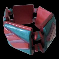 ARTISANAL 1990s Handmade Multicolored Stretchy Elastic Layered Polymer Clay TILE BRACELET