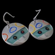 EXHILARATING 1980s Memphis Era Studio Handcrafted Modernist Sterling Silver Abstract Multicolored Enamel DANGLE EARRINGS