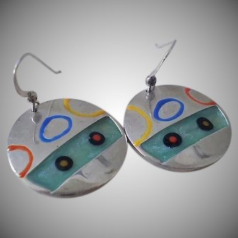 EXHILARATING 1980s Memphis Era Studio Handcrafted Modernist .925 Silver Abstract Multicolored Enamel DANGLE EARRINGS