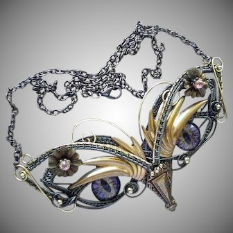 KITSCHY OFFBEAT One-of-a-kind 1980s Handcrafted Mixed Media Surreal Steampunk Owl PECTORAL NECKLACE with Glass Eyes
