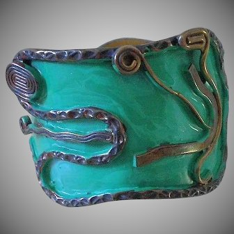 "Outstanding BETANCOURT 1960s Mid-century Mexico City Mixed Metals Polychrome Hinged Aztec ""Coatl"" Serpent BYPASS CUFF BRACELET ~ 51 Grams"