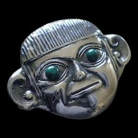 """Uncommon DELLAPINA 1980s Peruvian Handcrafted Repousse Sterling Silver Lambayeque Pre-Inca """"Lord of Sipan"""" Mask BROOCH PENDANT"""