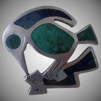 Iconic Early GRAZIELLA LAFFI Peruvian Mid-century Modernist .925 Silver Mottled Enamel BIRD FISH BROOCH