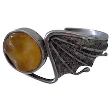 AVANT-GARDE Artisan Handcrafted 1970s Euro Style Baltic Amber Sterling Silver Brutalist BAT WING CUFF Bracelet