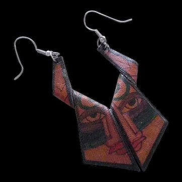 BOHO SOHO 1990s Artisanal Handcrafted Abstract Primitive Tattoo Style Dangle LEATHER EARRINGS ~ 2Cool Conversation Pieces!