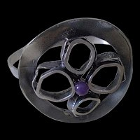Exceptionally Rare Mid-century Germany RELO Era .835 Silver ORGANIC BRUTALIST Hinged Cuff Bracelet with Amethyst  ~ 29 Grams