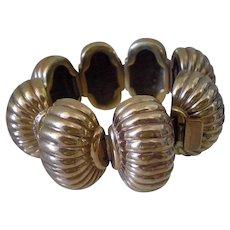"""GORGEOUS 1940s Mexican Gold Vermeil Sterling Silver Dynamic Repoussé Fluted LINK BRACELET ~ Designer Statement Piece ~ 1.25""""Wide ~ 57 Grams"""