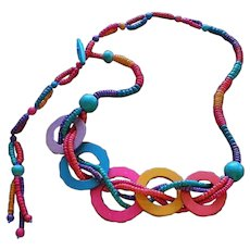"""ULTRA VIBRANT 1980s Memphis Era Handcrafted Chunky Adjustable Multicolored Wood Bead NECKLACE ~ 35"""" in Length"""