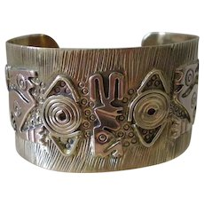 Amazing MEXICAN Mid-century Handcrafted Mixed Metal Brass Copper Tribal Aztec Icons CUFF BRACELET ~ 59 Grams