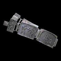UNCOMMON Late Century Artisanal Designed Sterling Silver Petroglyph STORYTELLER BRACELET ~ 52 Grams