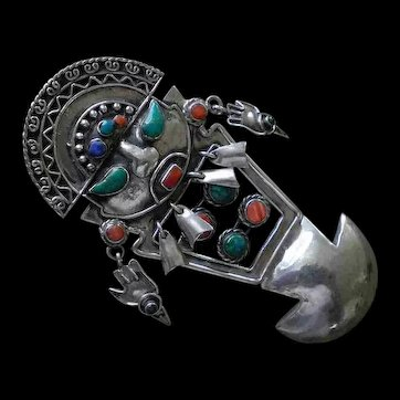"Imposing PERU Mid-century Handwrought Repoussé .950 Silver Inca TUMI BROOCH PENDANT with Multicolored Cabochons ~ 3-7/8"" Tall ~ 36 Grams"