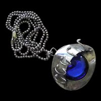 SURREAL Modernist Late Century Artisan Designed 3-D Blue Art Glass Sterling Silver EYE PENDANT NECKLACE ~ Hand Signed & Dated