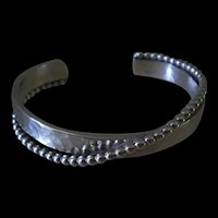 RESPLENDENT Mid-century Modernist Studio Hammered Sterling CUFF BRACELET with Unique Silver Beading ~ 35 Grams