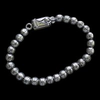 LUSTROUS 1980s Taxco Mexico Handmade Sterling Silver 6mm Signed BALL BEAD BRACELET