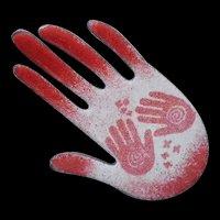 """Award-winning MARGARET BERRIER New Mexico Artisan 1980s Mythic Enamel on Copper """"Healer's Hand"""" Petroglyph FETISH PIN"""