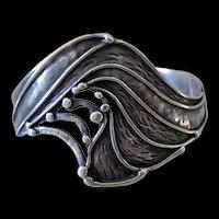 Stunning CARRIE GROVES Artisanal Handcrafted 1980s Avant-garde Sterling Silver BAT WING CUFF Bracelet ~ 25 Grams