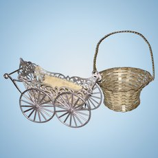 Wonderful Antique German Soft Metal Doll Carriage and Basket