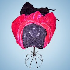Wonderful Velvet Antique Doll Hat with Feathers and Sequins