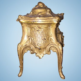 Gorgeous French Bronze Trinket Casket Box Perfect for Display with Small Dolls