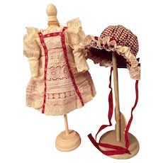 Cream Eyelet over Red Silk Doll Dress with Matching Bonnet