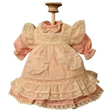 "Pink Silk Doll Dress With Batiste Pinafore For 10 to 12"" French or German Doll"