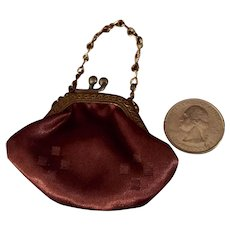 HOLD FOR G.  Dark Brown Satin French Fashion Purse