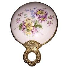 Porcelain and Brass Shaving Mirror