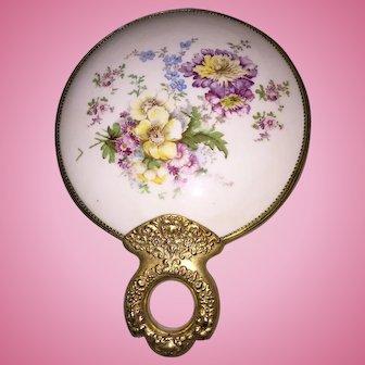 Porcelain and Brass Shaving Mirror