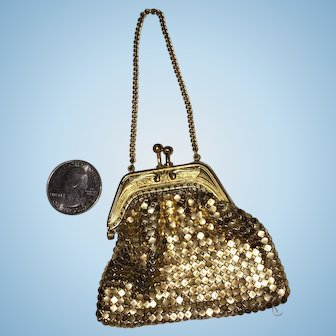 Beautiful Gold Chain Maille Purse for French Fashion or Small Bebe Doll