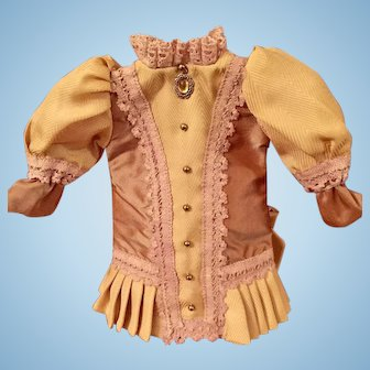 Rose And Cream Taffeta French Style Doll Dress for Small French or German Doll