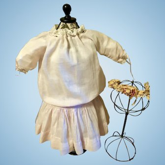 Original Antique Pale Pink Doll Dress and Floral Hair Garland for German or French Doll