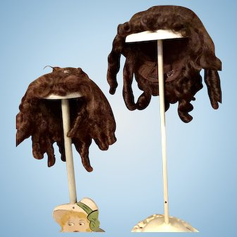 Two Mohair Doll Wigs for French or German Doll