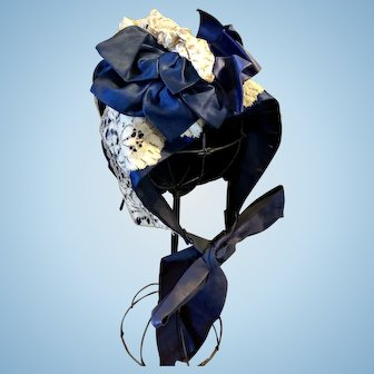 Gorgeous Navy Blue Silk and Ecru Lace Doll Bonnet for French or German Doll