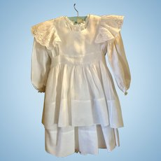Original Baby or Large Doll Dress With Organdy Pinafore