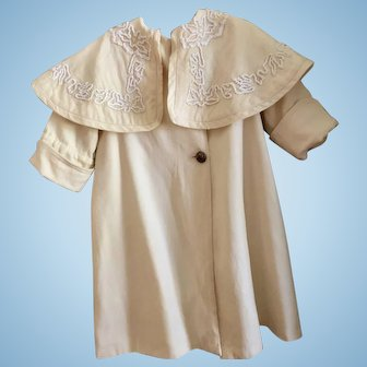Original Wool Challis Coat With Attached Capelet for Larger Doll