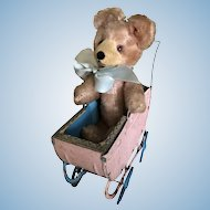 Adorable Vintage Tin Buggy and Mohair Bear