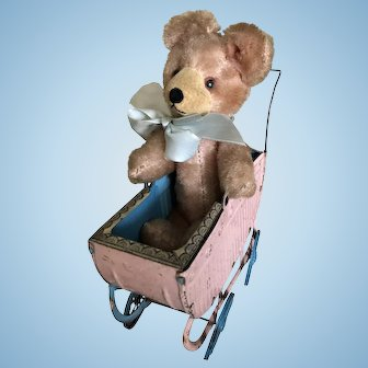 Adorable Vintage Tin Buggy and Mohair Bear