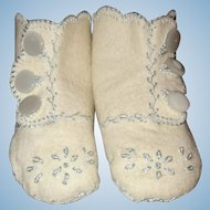 Beautiful Wool Felt Booties for Baby Doll