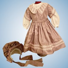 Beautiful Custom Made Outfit With Bonnet for French or German Doll