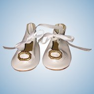 White Leather Doll Shoes with Embossed Metal Buckles